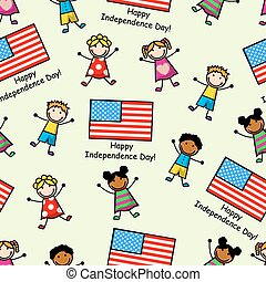 Flag Day - Cartoon seamless pattern with the American flag...