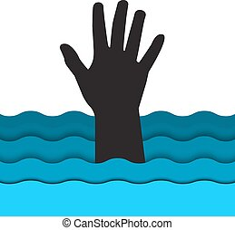 drowning man hand sticking out of t