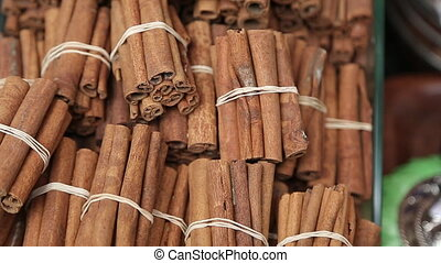 Stack of cinnamon in Turkish bazar - Stack of cinnamon with...