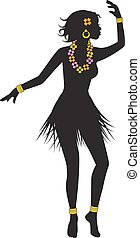 silhouette of dancing Hawaiian girl with flower beads and...