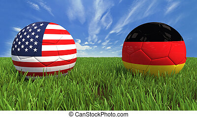 USA - Germany - 3D soccer balls with usa and germany flag,...