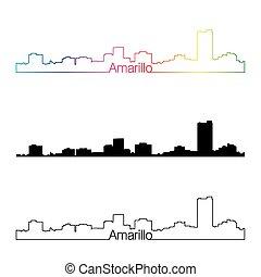 Amarillo skyline linear style with rainbow in editable...