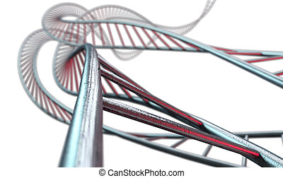 Spiral Genetics Strands - An abstract strand of a thread of...