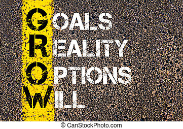 Business Acronym GROW as GOALS, REALITY, OPTIONS, WILL