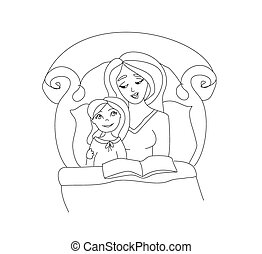 mom reading a book to her kid