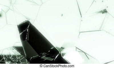 Glass smashed and broken in slow motion. Alpha matte