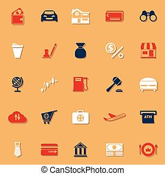 E wallet classic color icons with shadow, stock vector