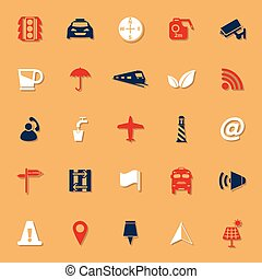 Map sign classic color icons with shadow, stock vector