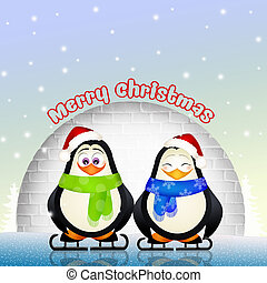funny penguins at Christmas - illustration of funny penguins...