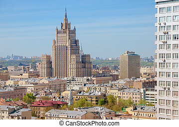 Panoramic view on top of the tall building of the Ministry...