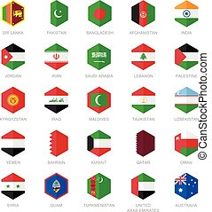 Asia middle east Flag Icons. - Asia middle east and south...