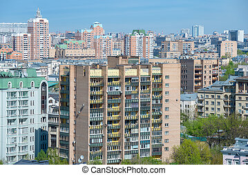 The dense residential development in the city center. Moscow