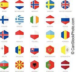 Europe Flag Icons. Hexagon Design - Europe Flag Icons....