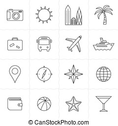 Travel and tourism icon set Vacation and travel icons Simple...