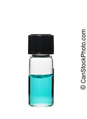 Vial with colored solution and reflection, isolated on white...