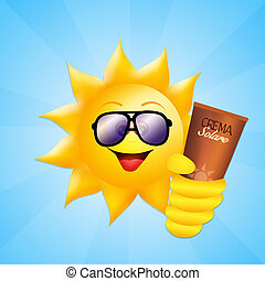 sun with sun cream - illustration of sun with sun cream