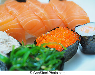 japanese, food - Caviar, Japanese food in the market.