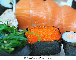 Caviar, Japanese food in the market.