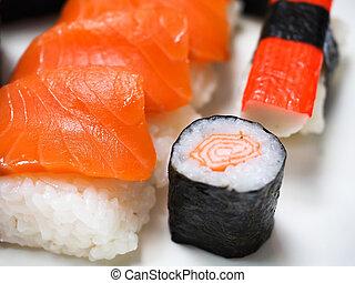 salmon, sashimi - Salmon sashimi in Japanese market.
