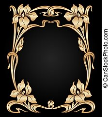 Vector art nouveau ornament. - Vector art nouveau gold iris...