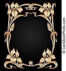 Vector art nouveau ornament. - Vector art nouveau gold iris...