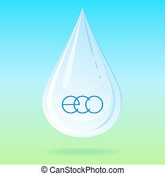 Vector water drop - Vector illustration with water drop on...