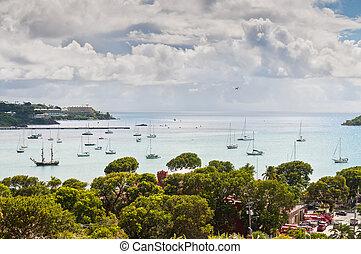 Sailboats at Charlotte Amalie harbor - St. Thomas, US Virgin...