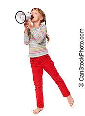 Little girl screaming in loudspeake - Full length happy...