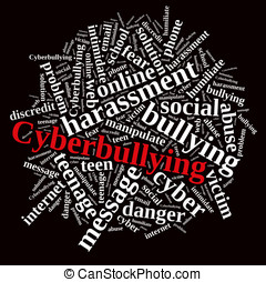 Cyberbullying. - Illustration with word cloud on...