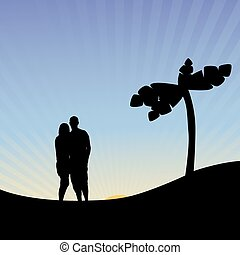 Vector silhouettes of romantic couple on tropical vacation