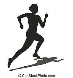 Running woman with shadow. Vector silhouette