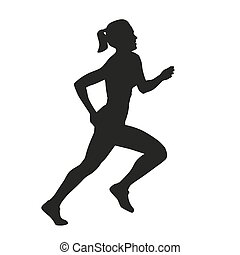 Vector isolated silhouette of running woman