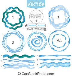 Watercolor wavy brushes,circle frame.Cyan,blue.Summer -...