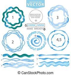 Watercolor wavy brushes,circle frame.Cyan,blue.Summer -...