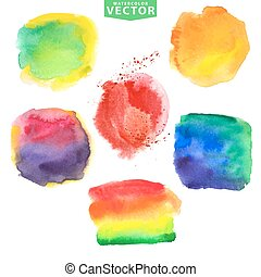 Watercolor stainsVivid bright colors - Watercolor hand...