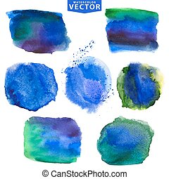 Watercolor stains.Cool,blue - Watercolor hand painting...