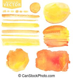 Watercolor stains,brushes.Orange,yellow.Summer sun -...