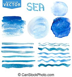 Watercolor stains,brushes,waves.Blue ocean,sea.Summer set -...