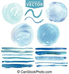 Watercolor stains,brushes .Blue ocean,sea,sky.Summer -...