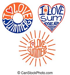 Lifebuoy,heart,sun in words I love summer - Typography...