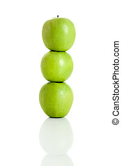 Apple balance - 3 fresh apple isolated over white background