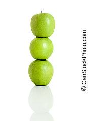 Apple balance - 3 fresh apple isolated over white background