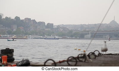 sea gull and landscape Golden Horn in Istanbul Turkey - sea...