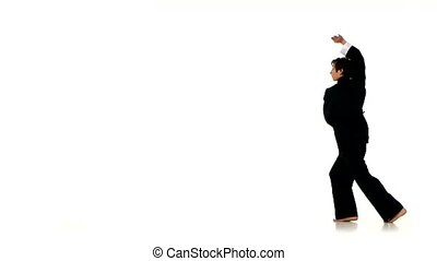 Young boy karate or wushu in kimono over pure white - Young...