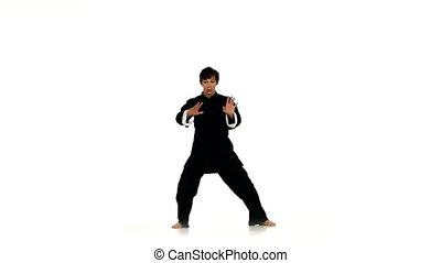 Black wushu or karate Fighter Isolated On White With...
