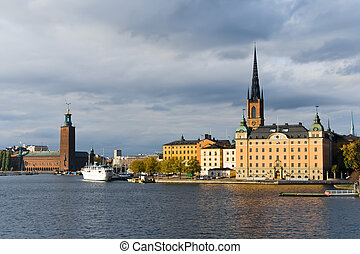 Stockholm skyline - A view of Riddarholmen, centre of...
