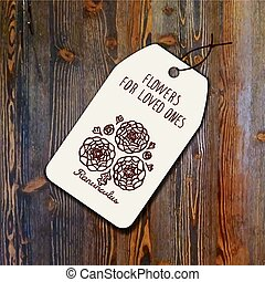 Tag template with bouquet of ranunculuses on wood background...