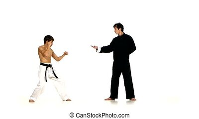 sparrynh taekwondo and wushu man on a white - sparring...