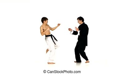 sparrynh taekwondo and karate man on a white - sparring...