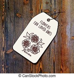 Tag template with bouquet of peonies on wood background...